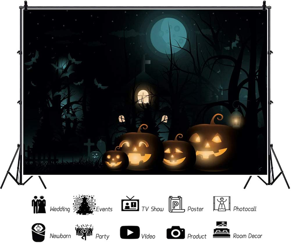 DaShan 6x4ft Polyester Horrible Halloween Backdrop Scary Graveyard Castle Witch Wizard Sorcerer Theme Halloween Party Photography Background Moon Pumpkins Lamp Halloween Celebration Decor Photo Prop
