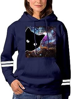 Elcacf Womens Fantasy Blue Pink Cat in Water Casual Print Comfortable Short-Sleeve T-Shirts Tees Funny Creative