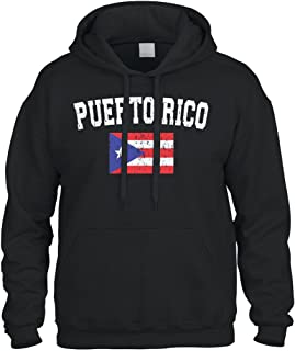 Cybertela Faded Distressed Puerto Rico Flag Sweatshirt Hoodie Hoody