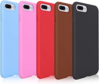 Pofesun Liquid Silicone Case Compatible with iPhone 8 Plus (2017)/ iPhone 7 Plus (2016) 5.5 inch, Gel Rubber Full Body Protection Shockproof Cover Case, 5 Pack-Black/Red/Brown/Purple/Rose