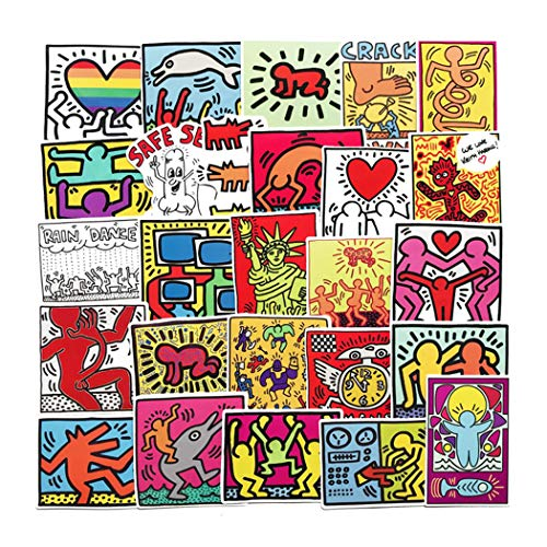 Keith Haring Street Artist Stickers for Water Bottles 50Pcs Cute,Waterproof,Aesthetic,Trendy Stickers for Teens,Girls Perfect for Waterbottle,Laptop,Phone,Travel Extra Durable Vinyl