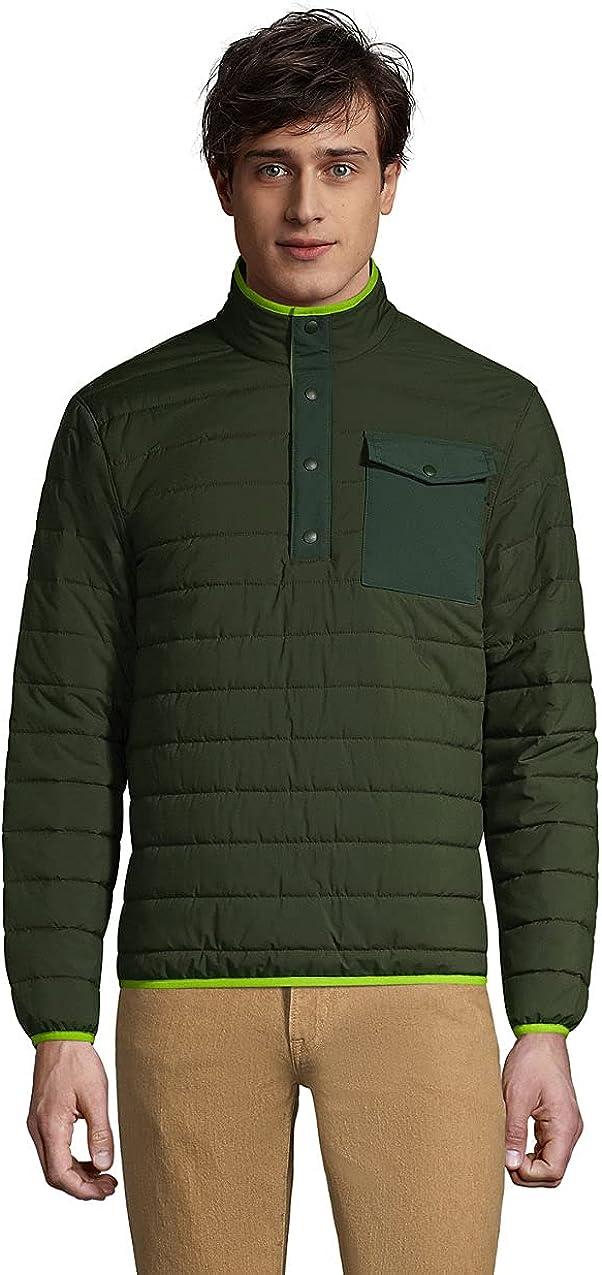 Lands' End Men's Quilted Quarter Snap Neck Pullover Jacket