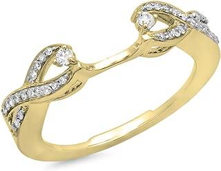 0.25 Carat (ctw) 10K Gold White Diamond Swirl Anniversary Wedding Band Ring 1/4 CT