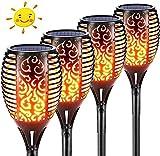 Luz solar de llama, 96 LED, lámpara solar para jardín, antorchas con llamas parpadeantes realistas, IP65, resistente al agua, para jardín, terraza, césped, patios traseros, caminos y patios
