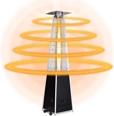 upstartech Pyramid Patio Heater 13KW 48000BTU Floorstanding Outdoor Propane Heater, Quartz Glass Tower Heaters with Moving Wh