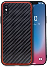 JOYSIDEA Carbon Fiber Cell Phone Case for iPhone Xs/iPhone X Ultra Slim Light Weight Classic Style Raised Edges Case Cover for iPhone Xs (2018) / iPhone X (2017) - Red