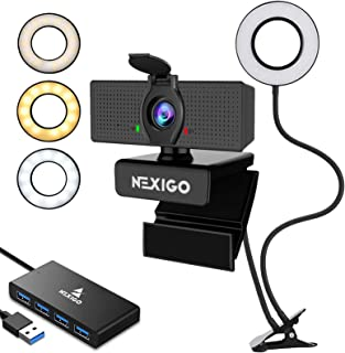 2020 Staming Kit, 1080P Webcam with 2ft 4-Port USB 3.0 Hub, Microphone, 3.5 Inch Selfie Ring Light, Mount Stand, and Priva...
