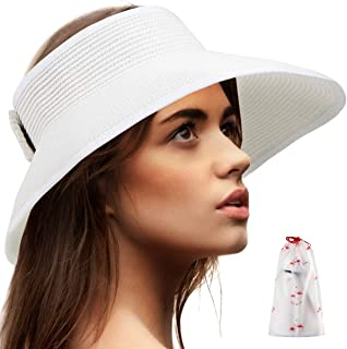 Foldable Sun Visors for Women - Beach Hat Wide Brim Sun Hat Roll-Up Straw Hat