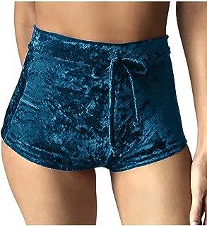 Rela Bota Women's Casual Soft High Waist Velvet Drawstring Casual Booty Shorts
