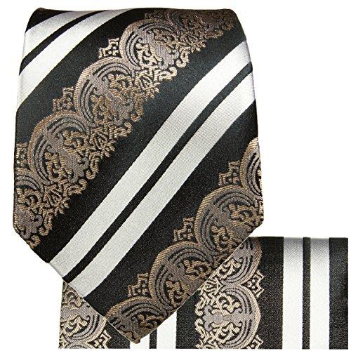Cravate homme noir blanc rayée ensemble de cravate 3 Pièces (longueur 165cm)