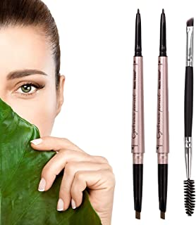 HeyBeauty 2 Pack of Eyebrow Pencil, Waterproof Eyebrow Makeup with Dual Ends, Professional Brow Kit with Eyebrow Brush, Black