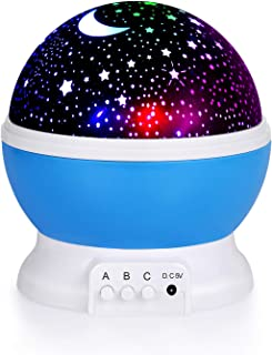House of Quirk Plastic Night Light Lamps for Bedroom 360 Degree Rotating Star Projector Lights Color Changing LED for Kids...