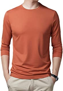 Comaba Men Cotton Leisure Comfort Solid-Colored Round Neck Long Sleeve T Shirt Top