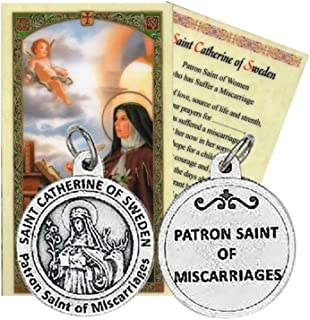 Gifts by Lulee, LLC Saint Catherine of Sweden Patron of Those Who Have Suffered a Miscarriage Medal with Chain and Blessed Prayer Card