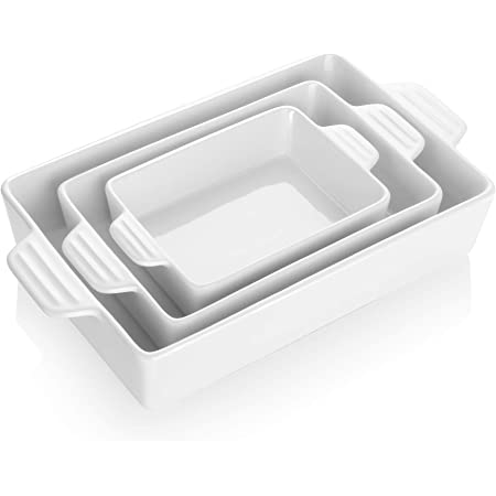 Teocera Porcelain Baking Dish, Casserole Dish, Rectangular Bakeware Set, Lasagna Pans for Cooking, Kitchen, Dinner Parties, Double Handle, Set of 3, White