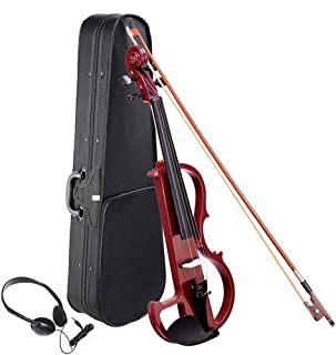 AW 4/4 Electric Violin Full Size Wood Silent Fiddle Musical Instrument Fittings Headphone Jujube Red