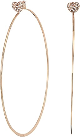 Michael Kors Love Is In The Air Pave Heart Stud Hoop Earrings
