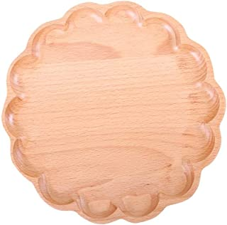RYYAIYL Rectangular Tray Solid Wood Egg Tray Solid Wood Disc Fruit Plate Flower Shaped Bamboo Wooden Tray Meal Plate Personality Creative