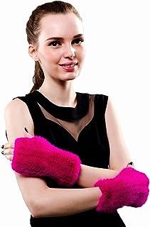 Winter Real Mink Fur Elastic Gloves Fingerless Soft Warm