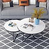 Mesa de centro de mármol, mesa redonda creativa en la sala de estar, mesa decorativa de dos piezas, adecuada para apartamento, hogar, oficina/B / 70cm