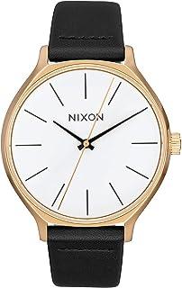 ساعة كلاسيكية للنساء انالوج بعقارب مقاومة للماء A1250-50m (وجه ساعة 38 مم، حزام جلد 17 مم - 15 مم) من نيكسون