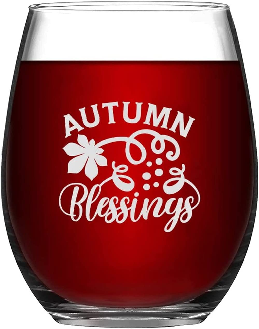 Wine Glasses Autumn Blessings Bargain sale Laser Glass Max 57% OFF Engraved Happy