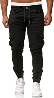 Men's Pants Jogging Chino Cargo Pants Stretch Sports Pants with Pockets Slim Fit Casual Pants