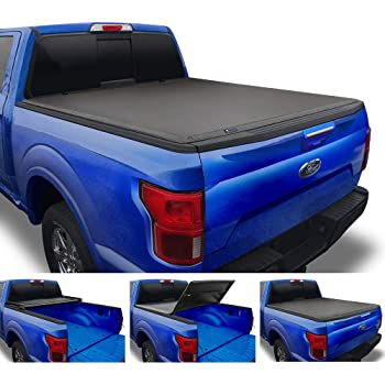 Tyger Auto T3 Soft Tri-Fold Truck Bed Tonneau Cover for 1999-2016 Ford F-250 F-350 Super Duty Styleside 8' Bed TG-BC3F1025, Black