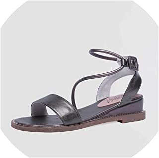 Cow Leather Sandals Women Buckle Solid Colors Summer Shoes Wedges Sandals