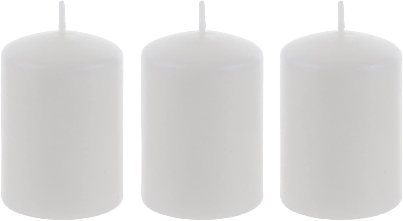 Mega Candles specialty shop 3 pcs Unscented Round White We OFFer at cheap prices Pressed Candle Pillar
