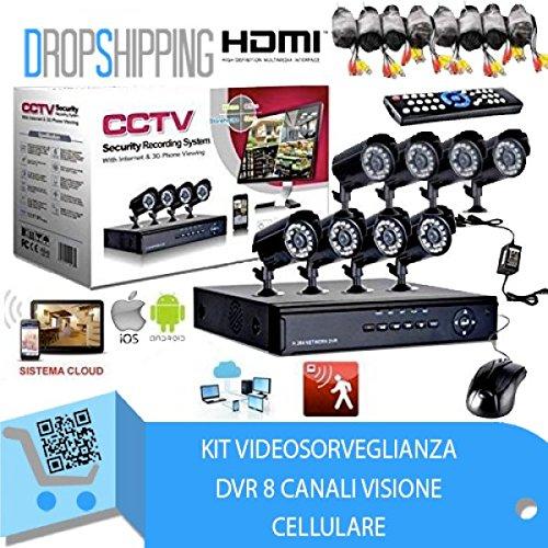 GENERAL TRADERS - Kit Videosorveglianza 8 canali, Telecamera Infrarossi, DVR, e Alimentatore. KIT8TELELECAMERE_VIDEO
