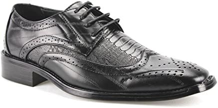 Ermax Men's W2015-2 Fashion Wing Tip Faux Crocodile Skin Oxfords Shoes