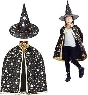 Toveraarskostuum voor kinderen, halloweenkostuum, tovermantel met hoed, heksenmantel, sterren, cape, toverhoed voor kleine...