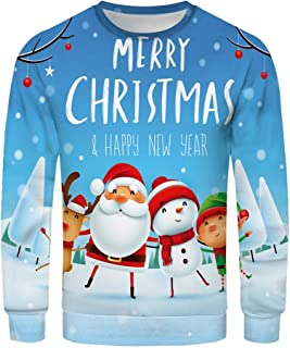MIUCAT😸 Couple's Christmas 3D Printed Long-Sleeved Sweater with Round Neck Blouse Plus Size Casual Tops