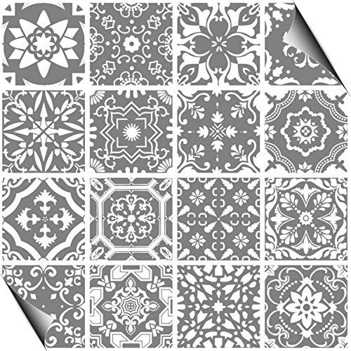 Artinstick 24 Grey Tile Stickers Decals Self Adhesive Vinyl Art Deco...