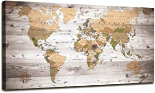 Wall Art Grey map of The World Painting Ready to Hang Large Framed Wall Art World Map Canvas Art Map Wall Decorations Artw...