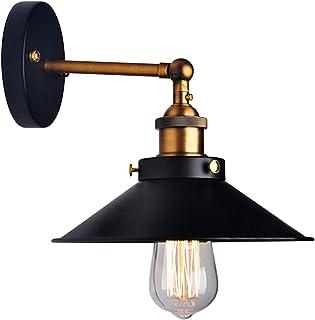 comprar comparacion Lámpara de pared LemonBest®, estilo retro industrial, forma de paraguas, para bombilla Edison E27,diámetro 21cm, metal n...