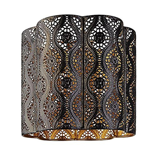 Abat-jour d'intérieur à suspension, thème marocain, en métal, couleur : marron foncé doré, facile à installer