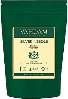 VAHDAM, Silver Needle White Tea Loose Leaf (25 Cups) | HEALTHIEST TEA, 100% NATURAL White Tea Leaves | POWERFUL ANTI-OXIDANTS, CAFFEINE FREE | Brew as Hot Tea, Iced Tea or Kombucha Tea | 1.76oz