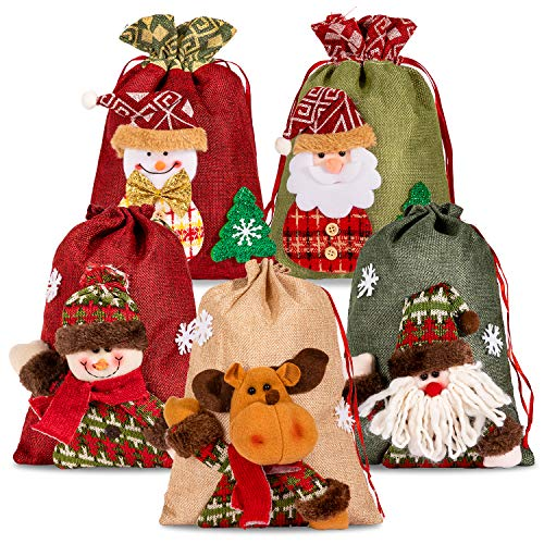 Whaline Drawstring Christmas Bags, 3D Xmas Gift Bags, Christmas Wrapping Bags, Xmas Goodie Bags, Red Treat Pouch Bags, Sack Stockings, Party Favor Bags, 8 x 11in, 8 x 12in (5 Pack)