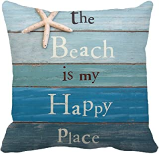 The Beach Is My Happy Place Throw Pillow Case Cushion Cover Decorative 18