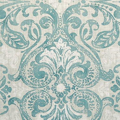 Tessuto di ramia e cotone - Versailles ~ ottanio eterno e bianco (sfondo: naturale / ecru) | 92% Ramia con 8% Cotone | larghezza: 150 cm (per metro lineare)*