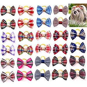 Masue Pets 60pcs/30pairs Puppy Dog Hair Bows with Rubber Bands/Clips Classic Plaid Bows Dog Bowknot Bows Small Dog Accessories Holidays (60pcs with Rubber Bands)