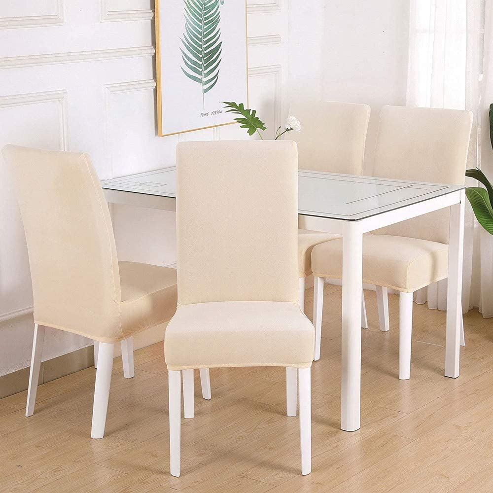 Chair Covers Slipcovers Stretch Removable Washable Short Dining Chair Protector Cover Seat for Hotel,Dining Room,Ceremony(Beige,4PCS)