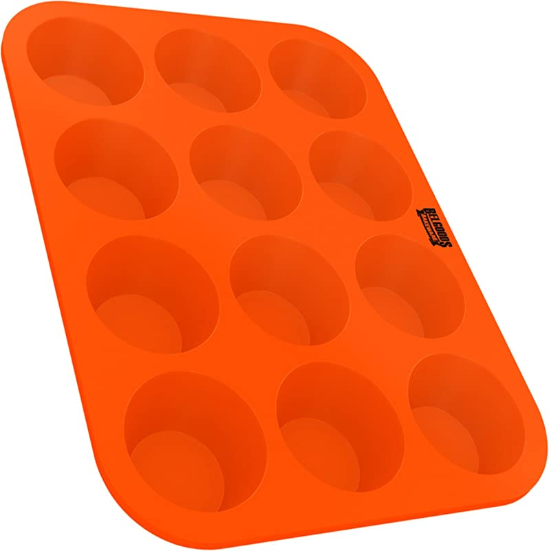 Silicone Muffin Cupcake Baking Pan Tray Standard Size 12 Cups 100 Pure Food Grade Non Stick Silicone Orange Bake Like A Professional