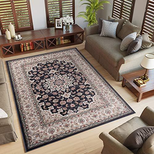 Tapiso Colorado Alfombra de Salón Comedor Dormitorio Diseño Clásico Vintage Crema Antracita Borde Rosetón 300 x 400 cm