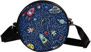 Coosun Umhängetasche für Kinder und Damen mit Katzenkosmonauten und Raketenmotiv, rund, Schultertasche, Handtasche