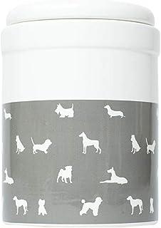 MOG & BONE Ceramic Treat Canister Grey Designer Dog Print