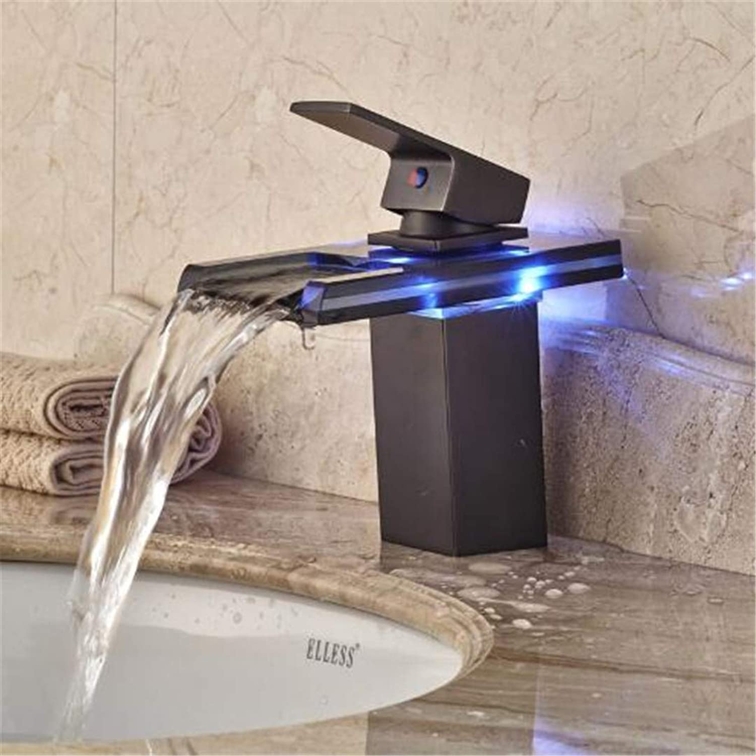 Oudan Taps Kitchen Faucet Bathroom Tapsled Light Glass Waterfall Spout Basin Sink Faucet Single Lever Changing Hot Cold Water Vanity Mixer Tap (color   -, Size   -)