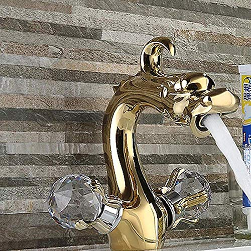 LIANGANAN Grifo de Chapado en oro nueva personalidad Sanitario Lavabo grifo creativo lavabo grifo hermoso práctica